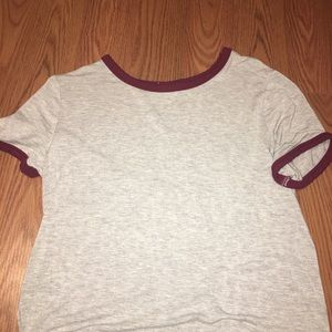 grey and maroon basic crop top